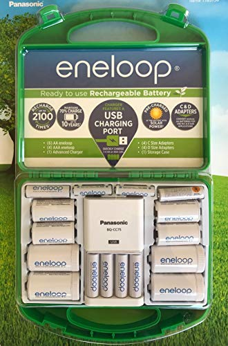 Eneloop Rechargeable Battery Set AA AAA C D Adapters Case + BQ-CC75 Charger