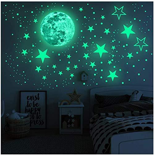 leuchtstickers wandtattoo, 435 Leuchtsterne punkten und mond, glow in the dark wandstickers fluoreszierende wanddeko für Kinderzimmer, Baby, jungen, mädchen, Kinder oder Schlafzimmer