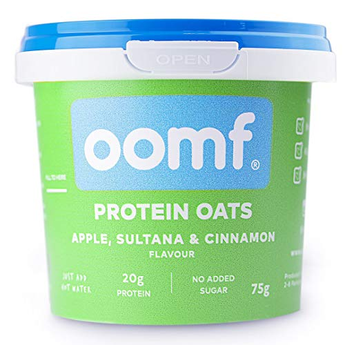 Oomf Whey Protein Porridge Instant Oats, 20 g Protein Per Pot, No Added Sugar, No Artificial Flavours or Ingredients, 75 g Per Pot, Apple, Sultana and Cinnamon Flavour, Pack of 8