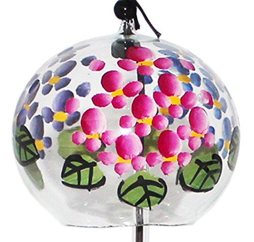 Japonais Carillon éolien en verre fait à la main avec des peintures de Fleurs Hortensia dans 3 couleurs