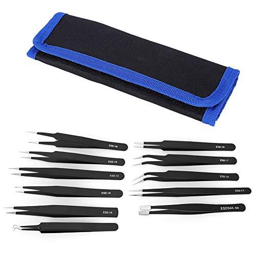 Ensemble de pincettes de précision 11PCS, kit de pincettes ESD antistatiques à arc droit en acier inoxydable dans un sac(#1)
