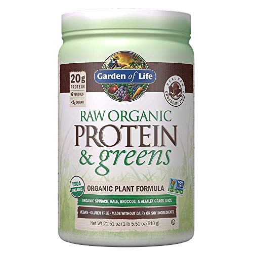Garden of Life Raw Organic Protein & Greens Chocolate - 20 Servings, Vegan Protein Powder for Women and Men, Juiced Greens and 20 g Plant Protein Plus Probiotics & Enzymes, Gluten-Free Low Carb Shake