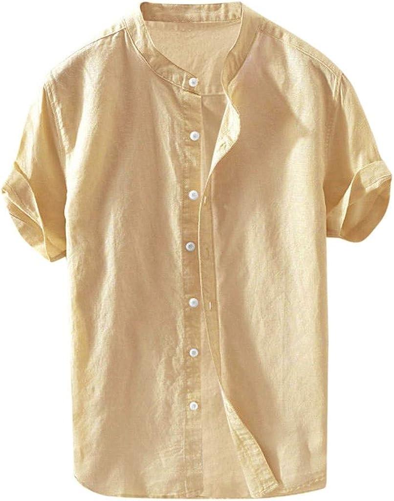 Holzkary Mens Casual Short Sleeve Shirt Linen Cotton Button Down Shirts Solid Color Henley T-Shirt Tops