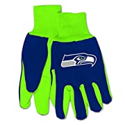 One Pair of Officially Licensed Two Tone Utility Gloves Constructed from Heavyweight Cotton Twill Features Rubber Grips on the Palms and Decorated with Your Favorite Colored Team Logo Made of 45% Cotton, 30% PVC and 25% Polyester One Size Fits Most, ...