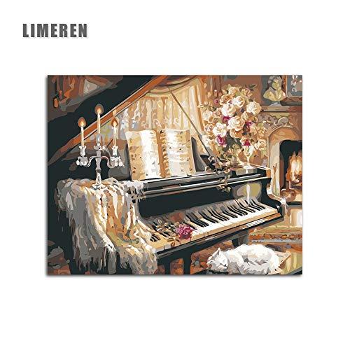 MBYWQ Verf Door Aantal Piano Indoor Kaars Bloemen Warm Kleurplaten Door Getallen (Zonder Framed)