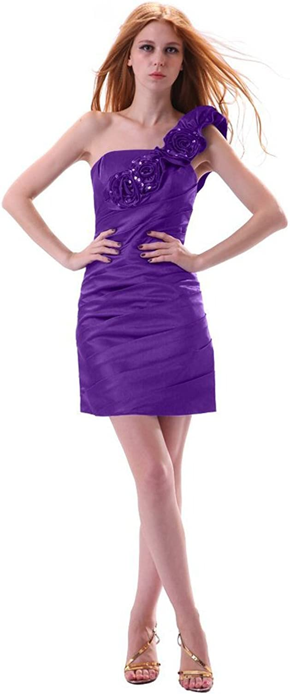 Dearta Women's Sheath Column OneShoulder Short Mini Taffeta Cocktail Dress