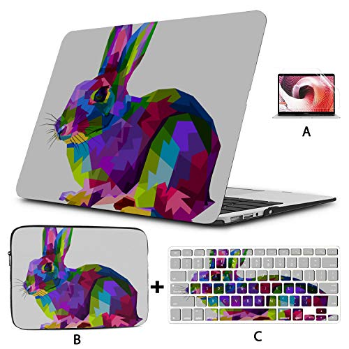 Macbook Pro Screen Protector Colorful Rabbit On Pop Art Style Rabbit Macbook Pro 2017 Accessories Hard Shell Mac Air 11'/13' Pro 13'/15'/16' With Notebook Sleeve Bag For Macbook 2008-2020 Version