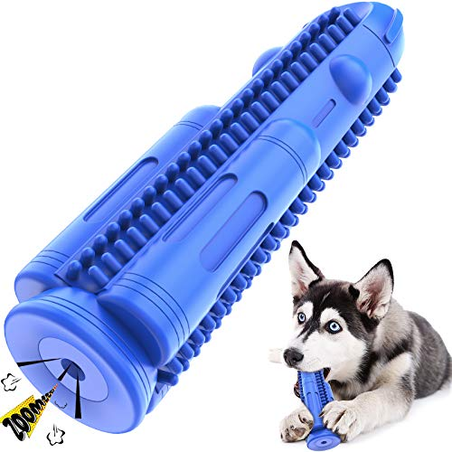 Pamlulu Dog Toothbrush Squeaky Toys Teeth Cleaning Chew Toy Puppy Brushing Stick Dental Care Bones for Small Medium Dogs Pets(15 lbs-50 lbs)