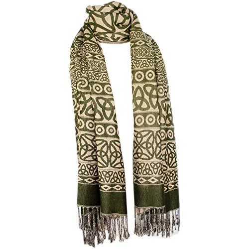Ladies Celtic Scarf, Pashmina Wool & Silk, Dark Green