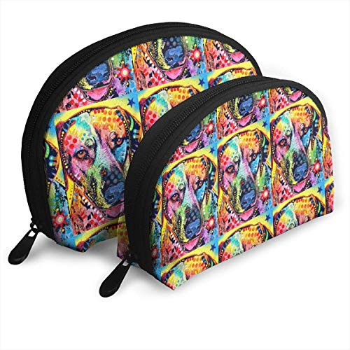 Chinese Color Art Garden Dog Portable Bags Clutch Pouch Coin Purse Cosmetic Travel Storage Bag 2Pcs Handbag