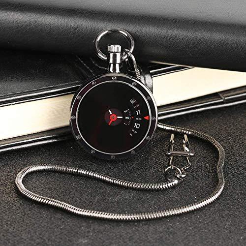 Wyxy Uhren Retro Schwarz Anhänger Taschenuhr Männer Frauen Modernes Design Vintage Plattenspieler Messzifferblatt Quarzuhr Geschenk
