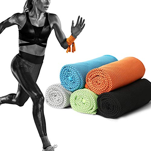 5 Pack Coma Cooling Towels, Soft Breathable Microfiber Ice Towel for Running, Golf, Yoga, Workout, Camping, Fitness, Travel, Super Absorbent Lightweight Towel for Outdoor Sports Instant Cooling Relief