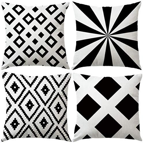 7ColorRoom - Juego de 4 Fundas de cojín con diseño geométrico de Color Blanco y Negro, con Estampado geométrico Moderno de Diamantes, 45,7 x 45,7 cm (geometría)