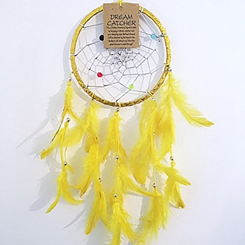Yellow Gold Dream Catchers/Dreamcatchers Beautiful Home Decor & Kids Room Wall Hanging Party Bag Filler Item Catch All Those Bad Dreams No More Sleepless Nights
