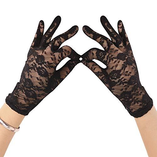 Afinder Elegante Spitzen-Handschuhe für Damen, kurz, Brautjungfer-Handschuhe, für Hochzeit, Abend, Abschlussball, Kostüm, Ball, Party Gr. Einheitsgröße, Schwarz