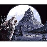 Rails Lobo Solitario Pintura Oleo Numeros 15.6x19.5 Pulgadas Number Painting para Adultos Kit de Pintura Al Óleo DIY(Sin Marco)