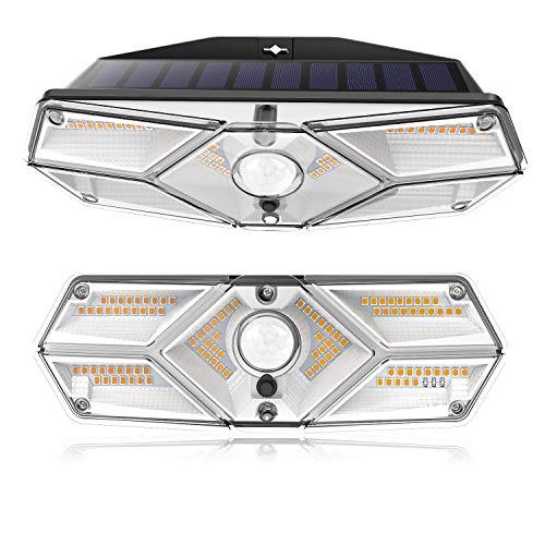 CLY Luce solare per esterni 104 LEDs con Sensore di movimento, Faretto solare a 3000K e Super Bright 2500mAh ,3 modalità di illuminazione 120º Applicare solare per giardino (2pcs)