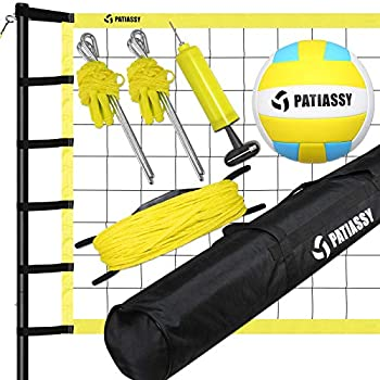 Patiassy Outdoor Portable Volleyball Net Set System - Quick & Easy Setup Adjustable Height Steel Poles PU Volleyball with Pump and Carrying Bag for Beach Backyard
