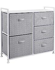 Amazon Basics Commode pour armoire - 5 tiroirs en tissu - blanc