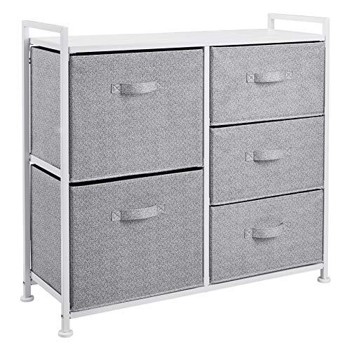 Amazon Basics Unidad de almacenamiento, de tela, con 5 cajones, para armario, blanco