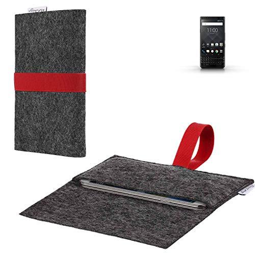 flat.design vegane Handy Hülle Aveiro kompatibel mit BlackBerry KEYone Black Edition passexakte Filz Tasche Hülle Sleeve Made in Germany