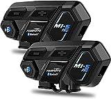 Fodsports M1-S Pro Motorrad Helm Headset, 8 Fahrer Bluetooth Intercom, 2000M Motorradhelm Sprechanlage Bluetooth kommunikationssystem, kann gleichzeitig sprechen und Musik hören (Siri/GPS/2 Packs)