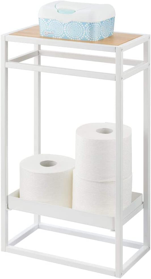 mDesign Modern Narrow Sale SALE% OFF Toilet Paper Roll Stand fo Minneapolis Mall 2-Tier Holder -