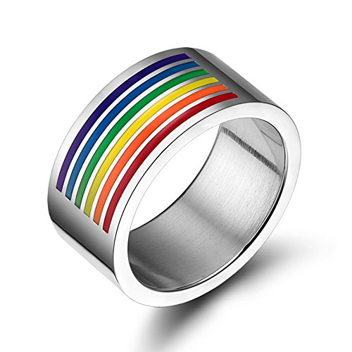 Nanafast Titanium Stainless Steel Gays & Lesbians LGBT Pride Rainbow Flag Band Ring Jewelry Size 7