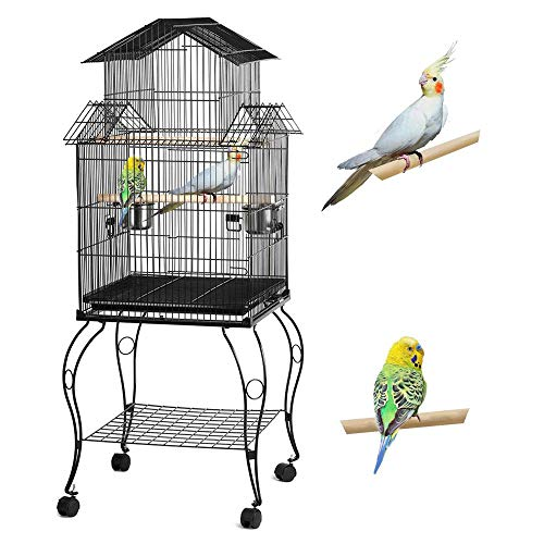Yaheetech Metall Vogelvoliere Vogelkäfig mit Ständer für wellensittich, Nymphensittiche, Papageien, Tauben schwarz