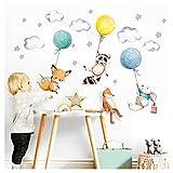 Little Deco Aufkleber Babyzimmer Tiere & Luftballons I Wandbild 97 x 57 cm (BxH) I Waschbär Fuchs Sterne Maus Wandtattoo Kinderzimmer Junge Mint DL508