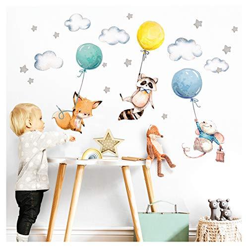 Little Deco Aufkleber Babyzimmer Tiere & Luftballons I Wandbild 68 x 40 cm (BxH) I Waschbär Fuchs Sterne Maus Wandtattoo Kinderzimmer Junge Mint DL508