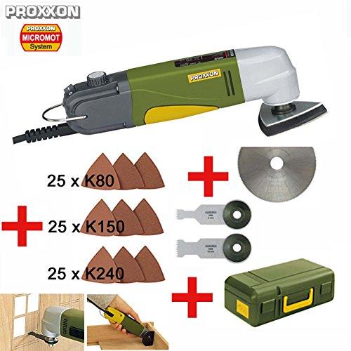 PROXXON Multitool / Eckenschleifer OZI/E Set - inklusive HSS-Trennblatt, Tauchsägeblatt 8 mm, Tauchsägeblatt 14 mm, 75 Stück Schleifblätter K80/K150/K240 und Koffer