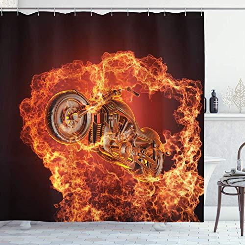 CGMYYXG Manly Decor Duschvorhang-Set, Chopper-Fahrrad platzt durch Feuer Motorrad Motorrad gefährliche Sportkunst, Badezimmerzubehör, 75 Zoll lang