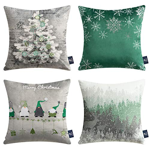 Phantoscope Pack of 4 Merry Christmas Decorative Velvet Embroidery Throw Pillow Cover with Snowflake, Trees, Elves, Elk Cushion Covers for Xmas Couch Sofa, Green and Grey, 18 x 18 inches, 45 x 45cm