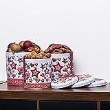 pille gartenwelt 3er Set XL Metall Keksdosen rund Blech 2 Motive Winter Weihnachtsn Gebäck Dosen 17 20 22 cm stapelbar (3er Set Sterne grau)