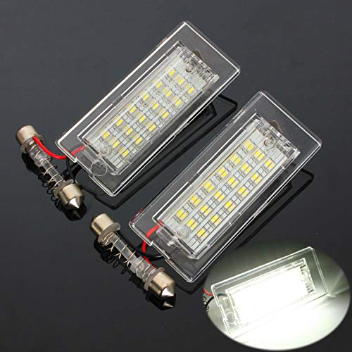 GOFORJUMP 1 Pair Car LED License Plate Lights 3528 SMD 18LED Tail White Lamp Bulbs for BMW E53/X5 E83 X3