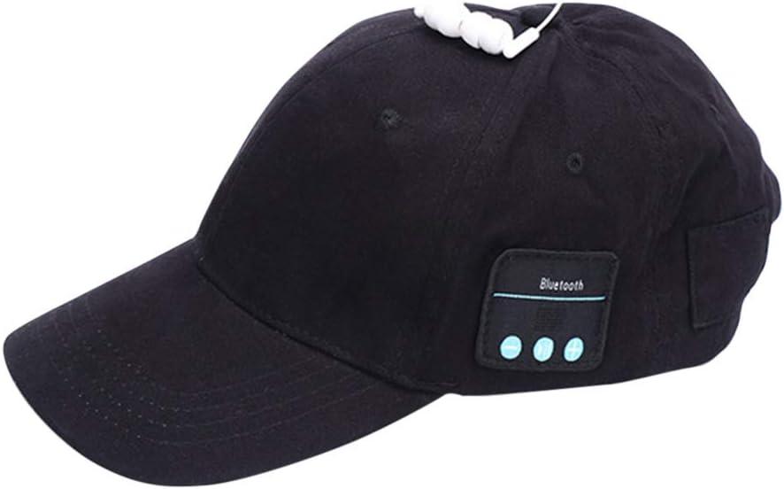 Jiecikou Bluetooth Baseball Cap Wireless Summer Hats Men Women Fasion Caps Hands Free Microphone Stereo Wireless Headphone for Women Black