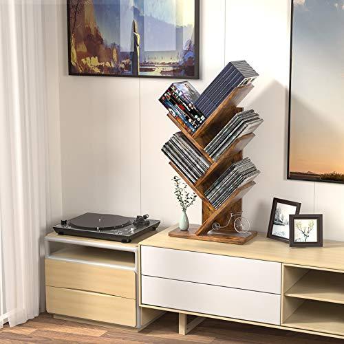 Tree Bookshelf, 4-Tier Book Storage Organizer Shelves Floor Standing Bookcase, Wood Storage Rack for Office Home School Shelf Display for Cd/Magazine/Book - Rustic Brown