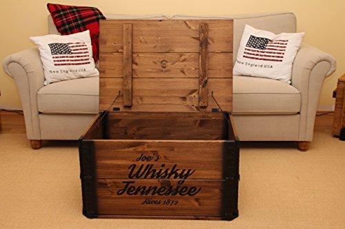 Uncle Joe´s Truhe Whisky Couchtisch Truhentisch im Vintage Shabby chic Style aus Massiv-Holz in braun mit Stauraum und Deckel Holzkiste Beistelltisch Landhaus Wohnzimmertisch Holztisch nussbaum - 4