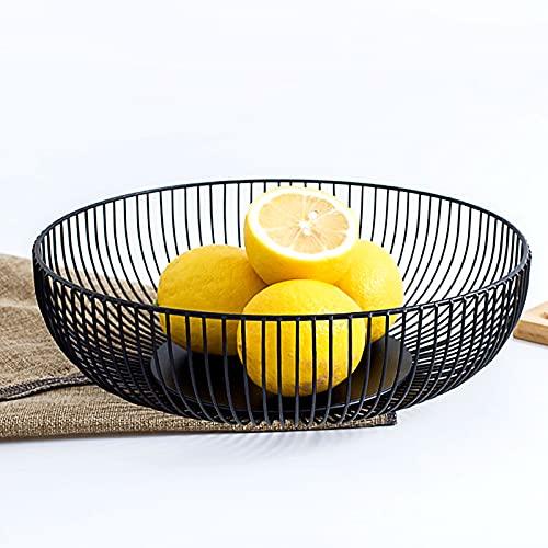 DMAR Obstschale Schwarz Metall Obstkorb Schwarzem 28x7.5 cm Obstkorb Metall Schwarze Obstschalen Obstkörbe Schwarze Fruit Basket Flach Obstschalen Modern Seicht Obstkorb aus Eisen