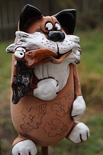 Dekostüberl Keramik Katze Tom mit Vogel Gartendekoration Handarbeit Tierfigur Beetstecker