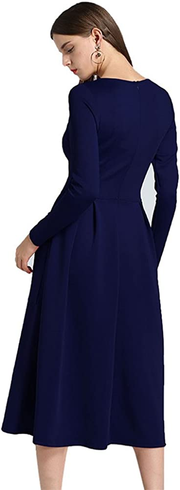 Moxeay Women Casual Long Sleeve Solid Pleated Midi Dress with Pockets