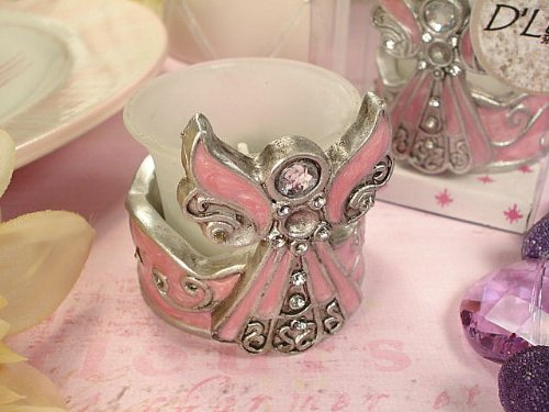 D1412 - Angel Tealight Candle Holder Pink Epoxy