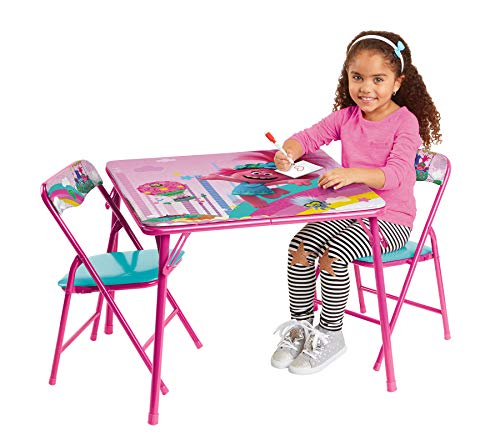Trolls Activity Table Sets – Folding Childrens Table & Chair Set – Includes 2 Kid Chairs with Non Skid Rubber Feet & Padded Seats – Sturdy Metal Construction