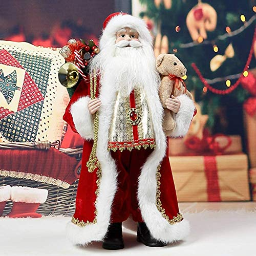 "Christmas Santa Claus,18"" Santa Claus Ornaments Decorations Traditional Standing Father Christmas Santa Claus Figure Xmas Decoration (HDD023-X01)"