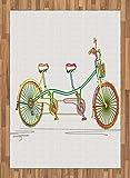 ABAKUHAUS Bicicletta Tappeto, Tandem Bike Design, Tessuto Piatto per Soggiorno Camera da Letto Sala da Pranzo, 160 cm x 230 cm, Multicolore