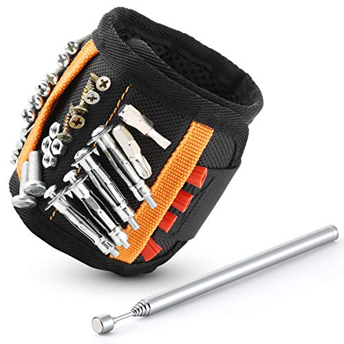 Bestes Herren Geschenk Magnetarmband mit 2 Kleinen Taschen,20 Leistungsstarken Magneten,Magnet Pickup, Handwerker Geschenk Magnetarmband, Vatertagsgeschenk.ASD01