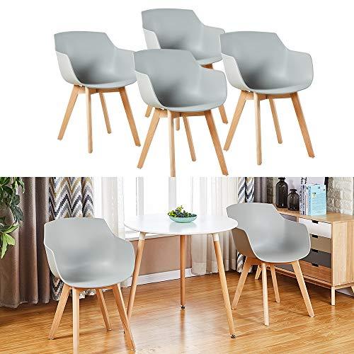 H.J WeDoo 4er-Set Wohnzimmerstuhl Esszimmerstuhl mit Armlehne und Buchenholz Retro Design Stuhl für Büro Lounge Küche Wohnzimmer (Grau)