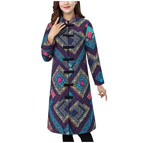 Longra damesmantel voor dames, middeleeuwse wind, National op de knie om warm te houden in de lange jas, katoen, knop, vrijetijdsjas, warm, winter, lang, vierkante druk, blauw