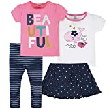 Gerber Baby Girls' 4-Piece Skirted Panty, Active Pant Set, Blue Whaley T Shirts, 2T